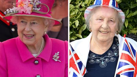The Queen and Rose Gibbons at 90. Picture: Arthur Edwards/The Sun/PA Wire