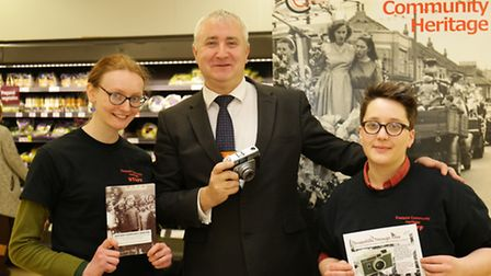 Holly Gilson and Max Hopkinson from Eastside heritage with Sainsbury manager Mark Twell
