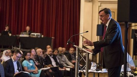 Sir Robin Wales addressed the conference, speaking on the importance of interfaith cooperation in Ne