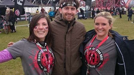 From left: Trixi Kos, Ben Murray and Kelly McBeth after finishing the 5km obstacle race