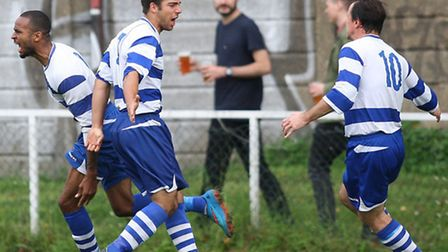 Luke Thomas (second from left) netted Ilford's winner at Sporting Bengal (pic: George Phillipou/TGSP
