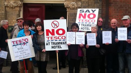 The anti-Tesco demonstration outside the town hall