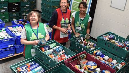 Volunteers helping out at the food bank in Harold Hill