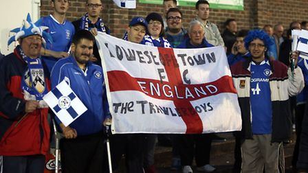 APRIL 30: Lowestoft fans during the Ryman Isthmian Premier League Play-Off Semi Final match between