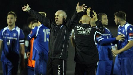 Lowestoft players and staff celebrate at the end of the play-off semi-final at Bognor Regis. Picture