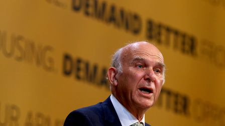 Liberal Democrats Leader Sir Vince Cable delivers his speech at the Liberal Democrats Autumn Confere