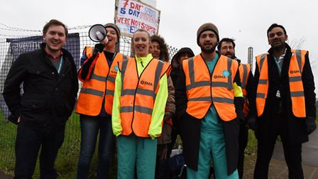 Junior doctors on strike outside of Queen's Hospital in Romford