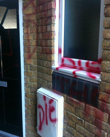 Death threats were spray-painted across Mr Shalom's Plaistow home in 2011