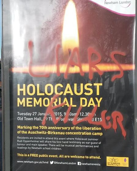 A vandalised Holocaust Memorial Day poster in West Ham Lane, near Stratford Park