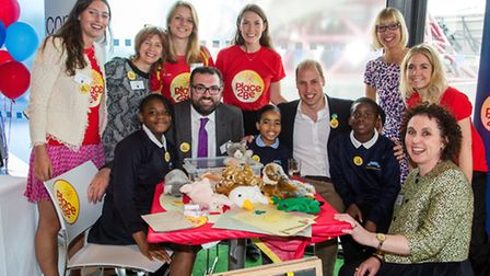 The duke of Cambridge with place2be staff and pupils from Curwen Primary School