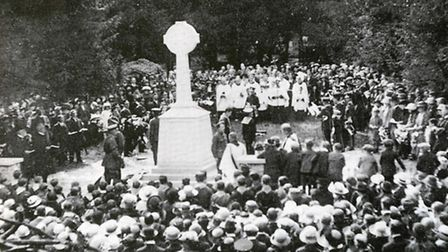 The unveiling of Upminster War Memorial - picture curtosey of Britain in Old Photographs: Upminster