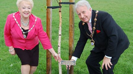 The Mayor and Mayoress of Havering with the commemorative plaque at the tree