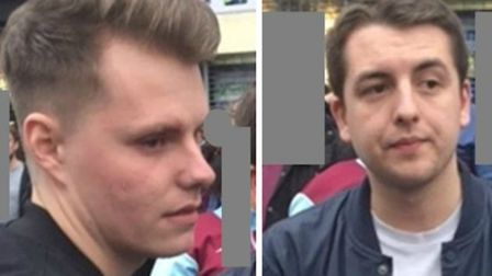 Two of the men police wish to speak with in connection with the violence outside the Boleyn Ground