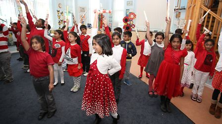 Pupils at St George's day at Redbridge Primary School, the school Carel Buxton is headteacher of.
