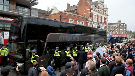 The Manchester United team coach makes its way to Upton Park (Nick Potts/PA Wire)