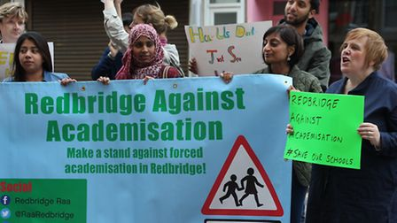 Redbridge Against Academisation protesters demonstrating outside Redbridge Town Hall, High Road, Ilf