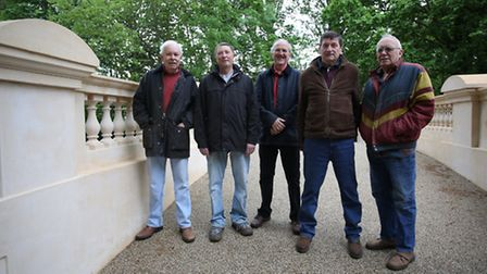 Chris Moss, Andrew Griffiths, Roy Brand, Bill Maclaurin and Andy Brett by the restored bridge in Par