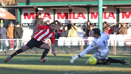 Stefan Payne finds the net for Hornchurch during the 2013/14 Ryman Premier campaign (pic: Gavin Elli