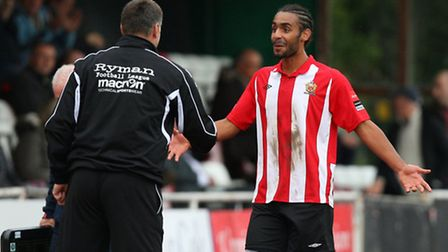 Stefan Payne smiles ahead of embracing Hornchurch manager Jimmy McFarlane (pic: Gavin Ellis/TGSPHOTO