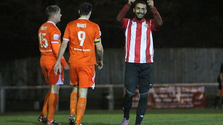 Stefan Payne celebrates after scoring for Hornchurch in the semi-finals of the Essex Senior Cup agai