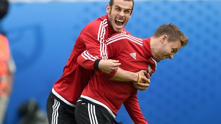 Wales' Gareth Bale and Chris Gunter (right) during the training session at the Stade Felix Bollaert-