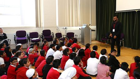 Hussain Manawer, who is due to travel to space in 2018, talking to pupils at Christchurch Primary Sc