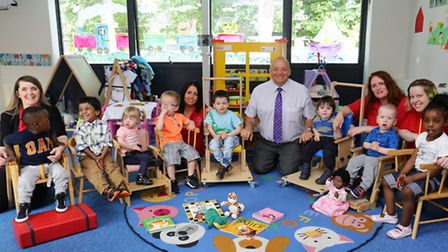 Mark Halls, staff and children celebrate the're ofsted success