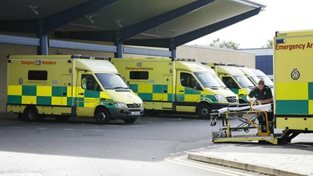 Waiting ambulances parked up in Queen's