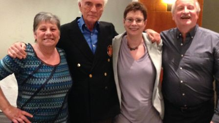 Lesley Knight, Terence Stamp, Lesley Grainger and Colin Grainger at the reunion