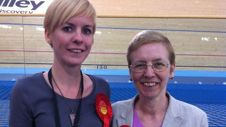 Cllr Ellie Robinson, for Forest Gate North, with her mum, Frances Clarke, who was elected to Wall En