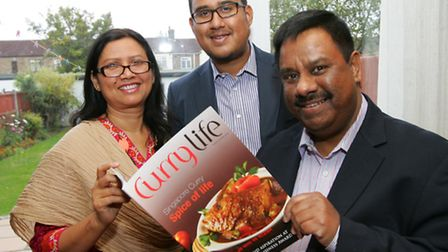 Redbridge based editor of Curry Life magazine Syed Ahmed. with his wife Taslima Akhter, and son Samu