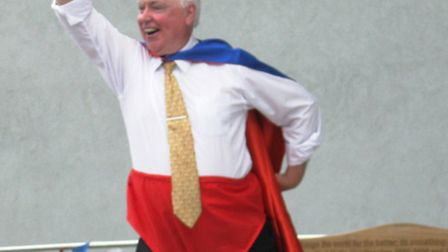 Andy Kelly, taking part in the school's superhero fun day this week