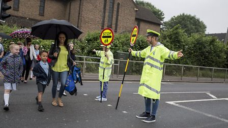 TV star Jeff Brazier became a lollipopper for the day at St Mary's Catholic Primary School, Hornchur