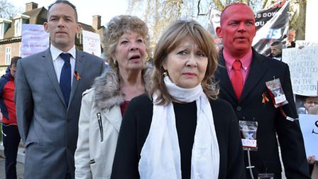 The Farrugia family at a protest over the contaminated blood scandal at Westminster earlier this yea