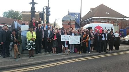 Politicians and residents gathered outside Forest Gate station