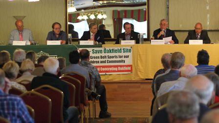 A panel fielding questions from the public at the Jack Carter Pavilion, Oakfield Playing Fields. SOS