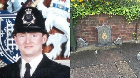 Pc Phillip Walters', left, memorial in Empress Avenue, Ilford, right, has been vandalised. Pc Walter