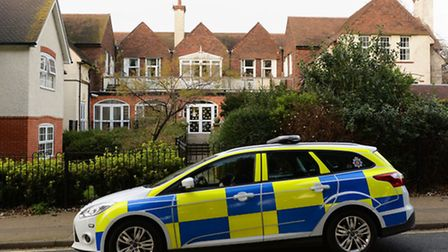 A police car outside De La Mer House in Walton-on-the-Naze, Essex, the care home where Rita King was