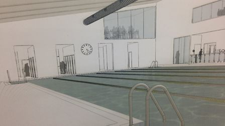 An artists impression of the possible public pool at Mayfield School, Goodmayes.