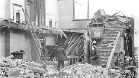 Demolished houses in Fort Road show the extent of the damage from the explosion