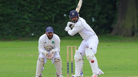 Shahbaz Butt in batting action for Upminster during their Essex League Division One clash with Orset