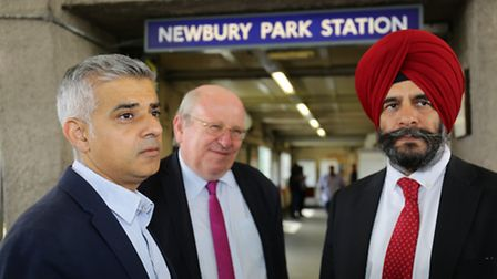 London mayor Sadiq Khan with Ilford South MP Mike Gapes and leader of the council Cllr Jas Athwal at