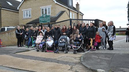 Parents outside Parsonage Farm school in Rainham last year opposing expansion plans