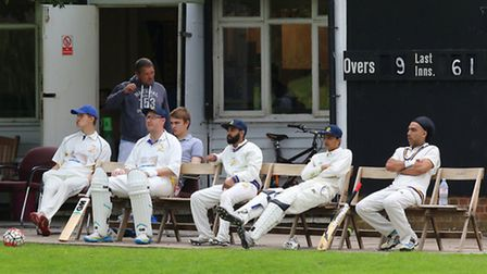 Rainham players look on during their Mid-Essex League Division One match at Ingatestone and Fryernin