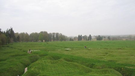 A general view of a trench system in Newfoundland park at Beaumont Hamel on the Somme, France. The l