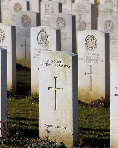 Graves of British soldiers who fought at the Somme in the first World War, who are buried at the Con