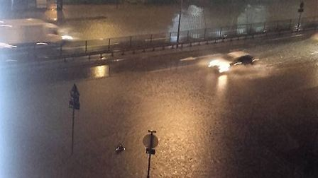 The flooding has closed parts of the A13 in Barking (Pic: Lou King)
