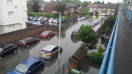 Flooding in Beaconsfield Road Road, Plaistow (Pic: Mell Wotch)