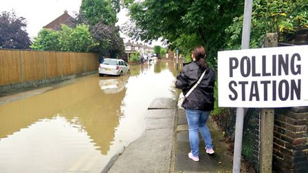 Floods at polling station on the corner of Mawney road and Abbots Close, Collier Row. Picture: @Chri