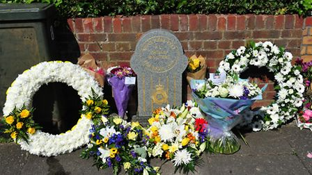 The memorial to pc Phillip Walters who died 20 years ago on duty